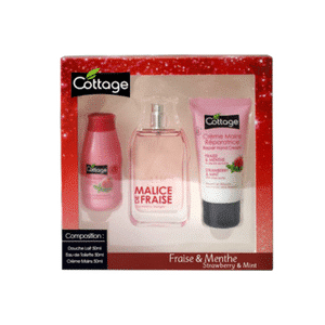 Cottage gift box natural spray repairing hand cream revitalizing shower milk strawberry and mint