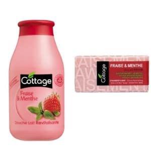 DUO cottage savon barre et douche fraise